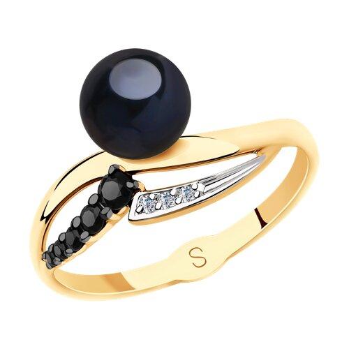 Кольцо из золота с чёрным жемчугом и фианитами (791143) - фото