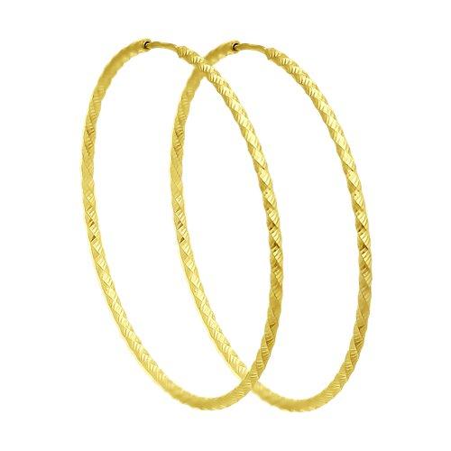 Серьги из желтого золота с алмазной гранью (140154-2) - фото