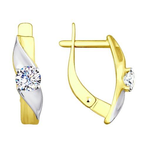 Серьги из желтого золота с фианитами (028025-2) - фото