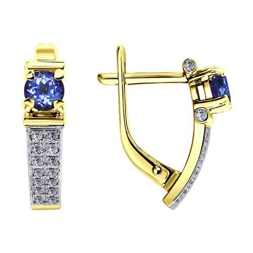Серьги из желтого золота с бриллиантами и танзанитами