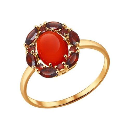 Кольцо из золота с гранатами и кораллом
