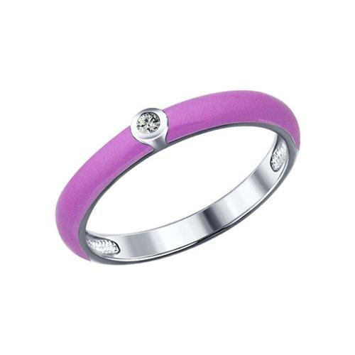 Сиреневое кольцо SOKOLOV из серебра с эмалью и фианитом