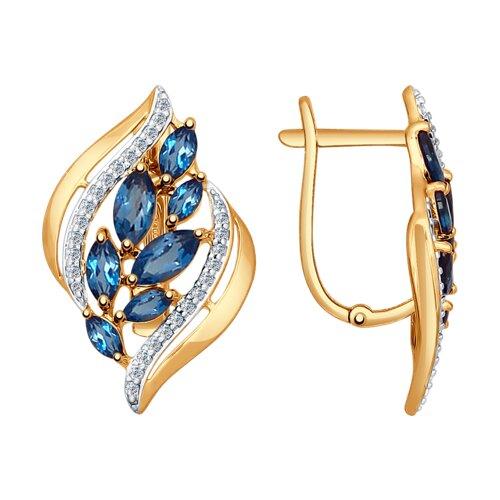 Серьги из золота с синими топазами и фианитами (37724558) - фото