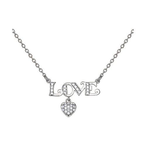 Серебряное колье «Love» украшенное сердцем и фианитами