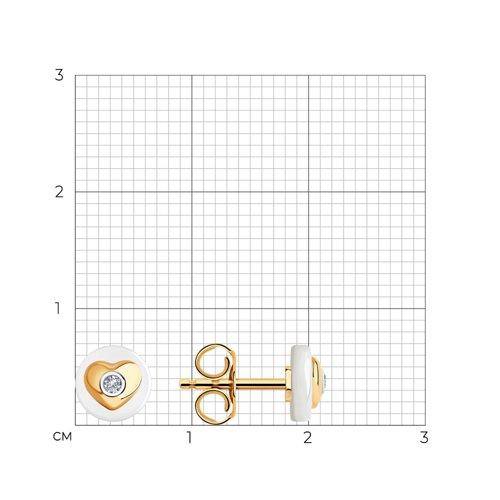 Серьги из золота с бриллиантами и керамическими вставками 6025136 SOKOLOV фото 2