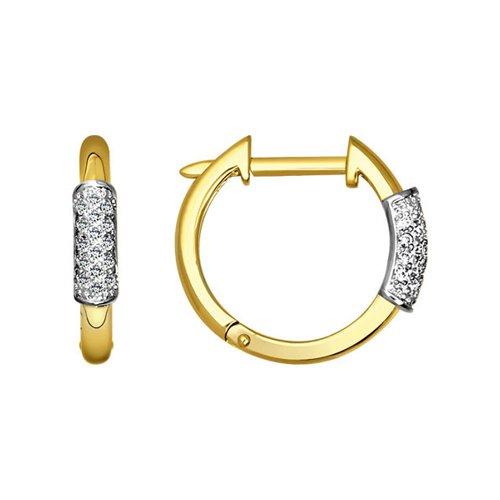 Серьги SOKOLOV из жёлтого золота с бриллиантами московский ювелирный завод серьги с 40 бриллиантами из жёлтого золота e108 1982665cd r17