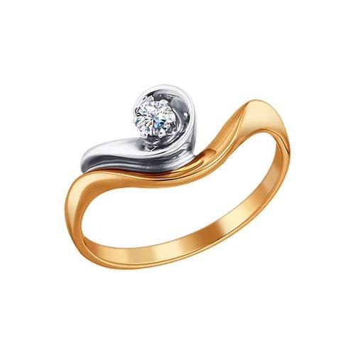 Комбинированное помолвочное кольцо с бриллиантом SOKOLOV