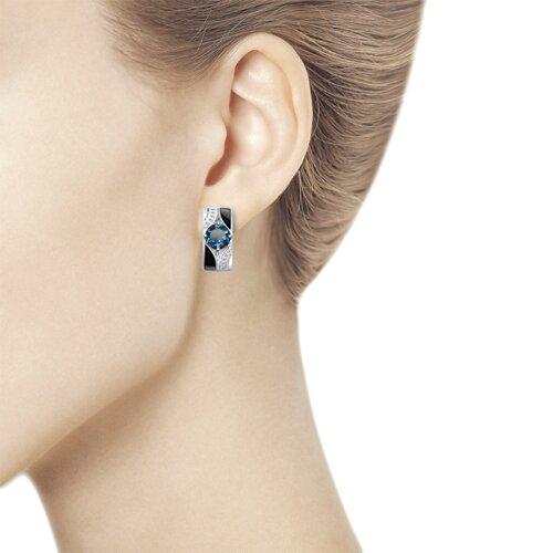 Серьги из серебра с эмалью и синими топазами и фианитами (92021672) - фото №3