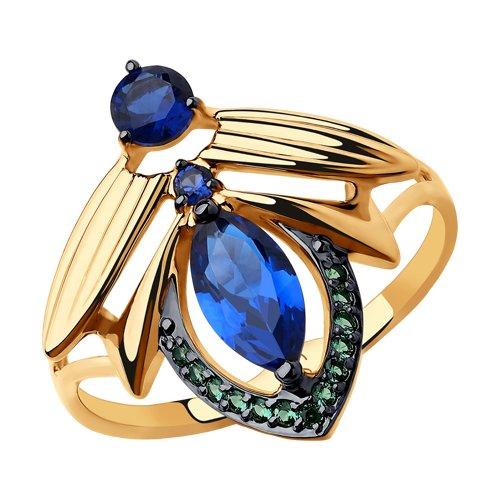 Кольцо из золота с фианитами (018200) - фото