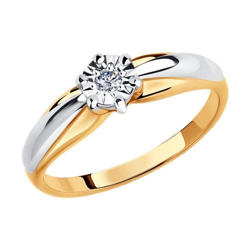 Кольцо из комбинированного золота с алмазной гранью с бриллиантом (1011578) - фото