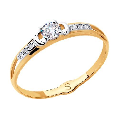 Кольцо из золота с фианитами (018093) - фото