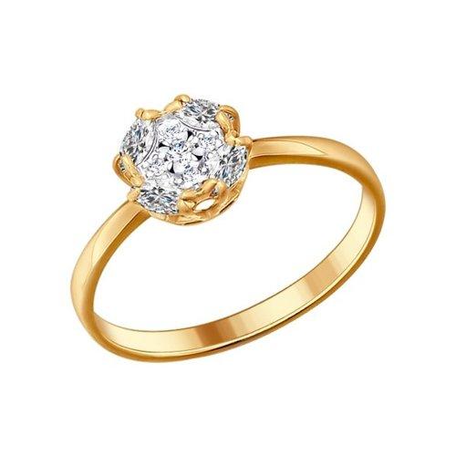 Помолвочное позолоченное кольцо SOKOLOV из серебра