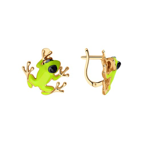 Серьги из золочёного серебра «Лягушки» (93020862) - фото