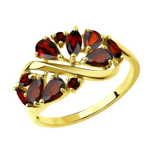 Кольцо из желтого золота с гранатами 714842-2 sokolov фото