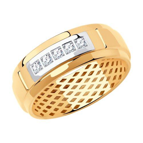 Кольцо из золота с фианитами (018616) - фото