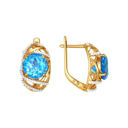 Золотые серьги с голубым топазом и фианитами SOKOLOV