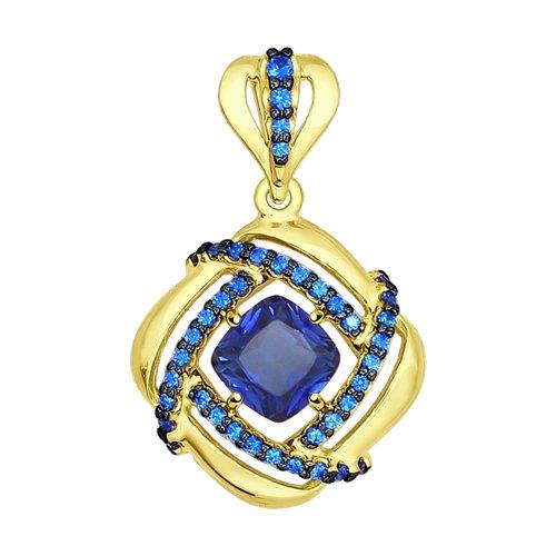 Подвеска из желтого золота с синим корунд (синт.) и синими фианитами