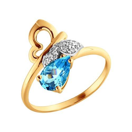 Кольцо в форме бабочки с топазом SOKOLOV цена и фото