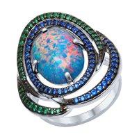 Кольцо из серебра с синим опалом и зелеными и синими фианитами