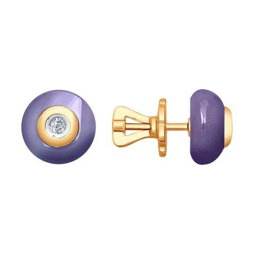 Серьги из золота с бриллиантами и керамикой (6025037) - фото