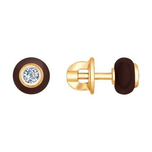 Серьги из золота с бриллиантами и керамикой (6025076) - фото