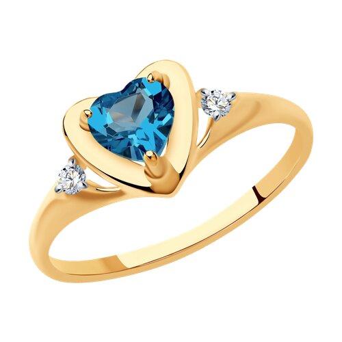 Кольцо из золота с синим топазом и фианитами (715043) - фото