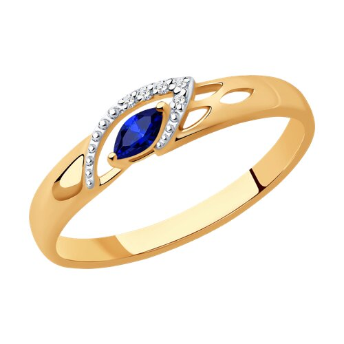 Кольцо из золота с бриллиантами и сапфиром (2010961) - фото