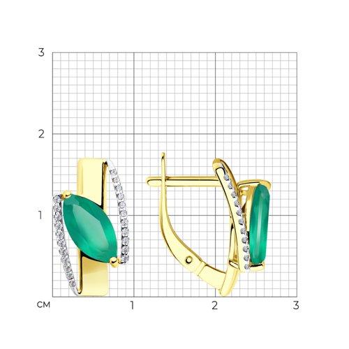 Серьги из желтого золота с агатами и фианитами 725743-2 SOKOLOV фото 2