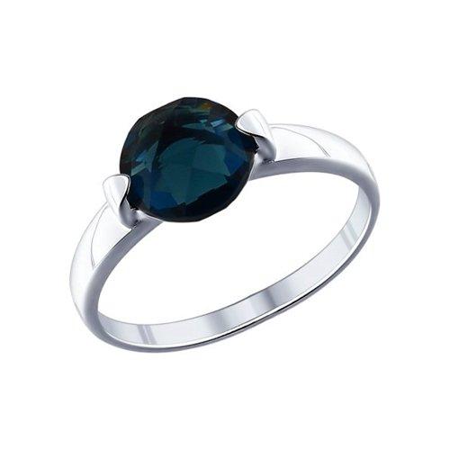 Кольцо SOKOLOV из серебра с синей стеклянной вставкой