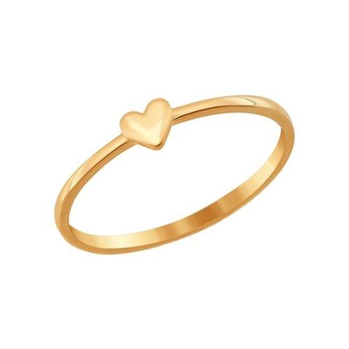 Золотое кольцо с сердечком