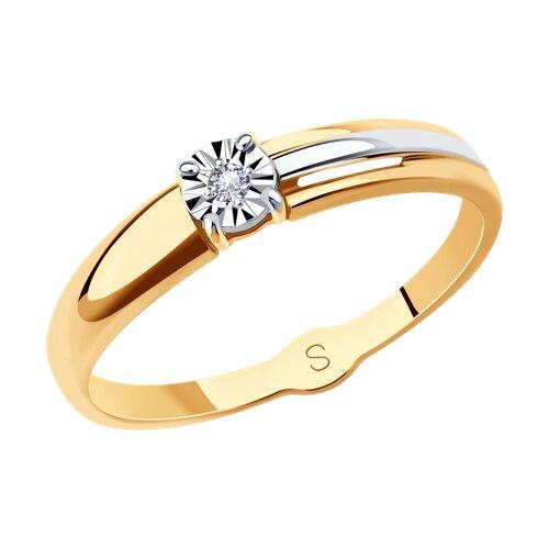 Кольцо из комбинированного золота с бриллиантом (1011721) - фото