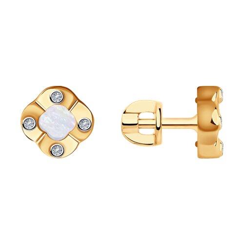 Серьги из золота с бриллиантами и перламутром