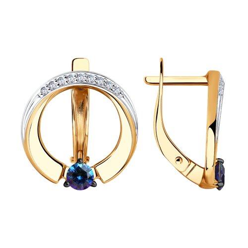 Серьги из золота с бесцветными и синими Swarovski Zirconia