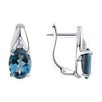 Серьги из серебра с синими топазами и фианитами