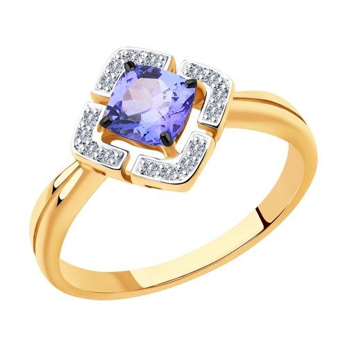 Кольцо из золота с бриллиантами и танзанитом (6014121) - фото