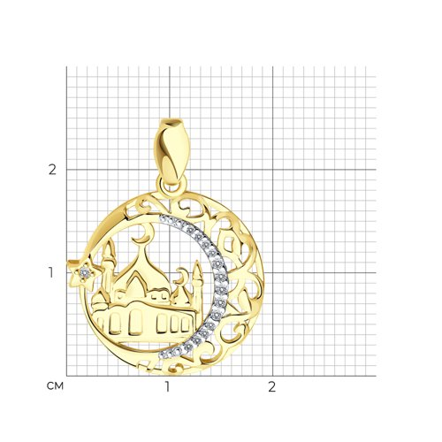 Подвеска из желтого золота с фианитами (034443-2) - фото №2