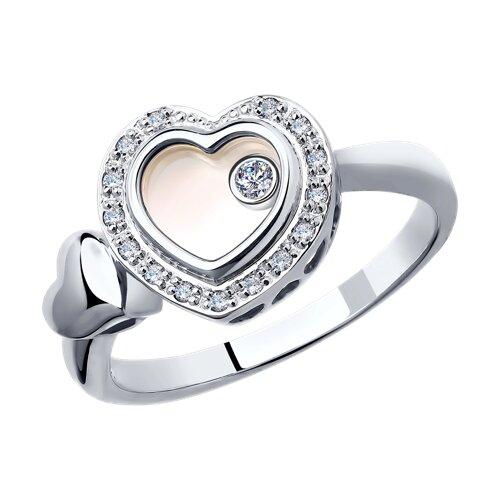 Кольцо из белого золота с миксом камней (1011655-3) - фото