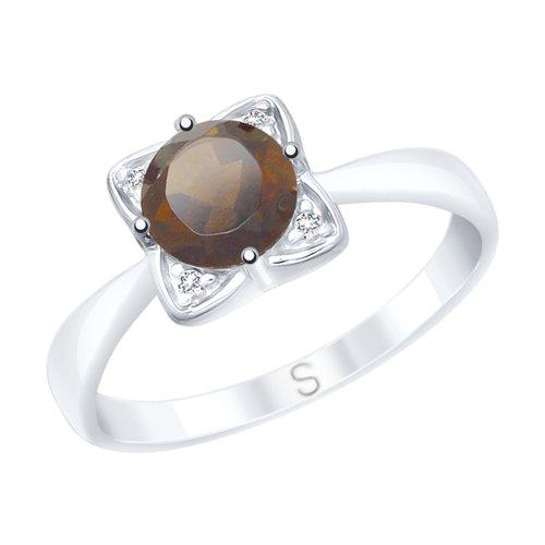 Кольцо из серебра с раухтопазом и фианитами (92011692) - фото