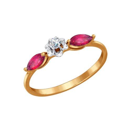 Кольцо из золота с бриллиантом и рубинами