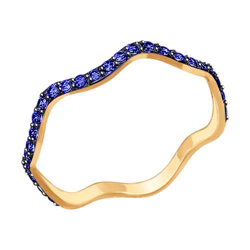 Кольцо из золота с синими фианитами