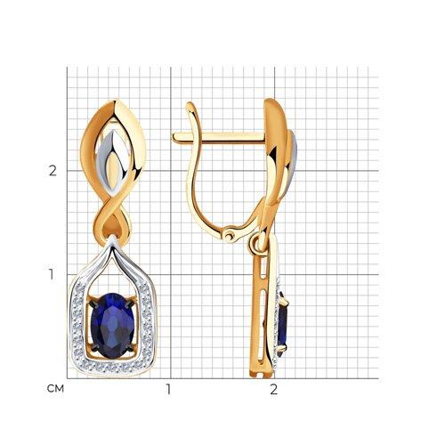 Серьги из золота с бриллиантами и сапфирами 2020965 SOKOLOV фото 2
