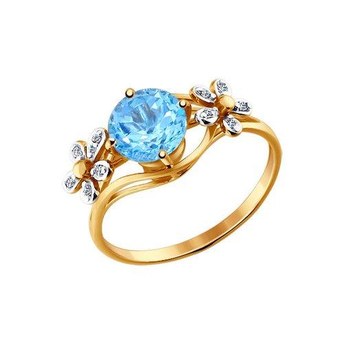 Кольцо с цветками SOKOLOV из фианитов и круглым топазом золотое кольцо с двумя цветками sokolov