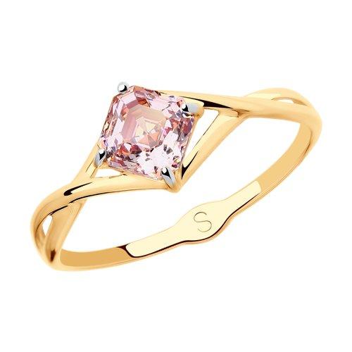 Кольцо из золота с розовым Swarovski Zirconia (81010419) - фото