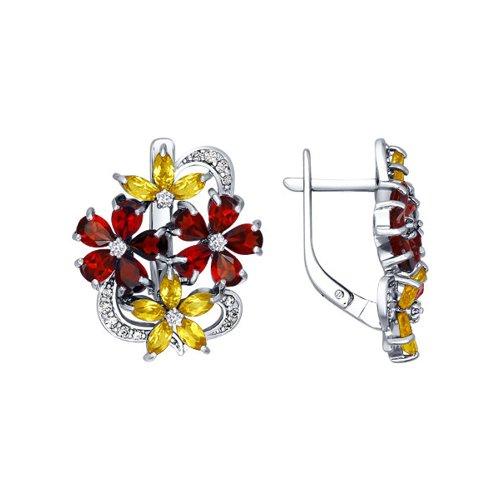 Серьги с яркими цветками SOKOLOV из гранатов и цитринов