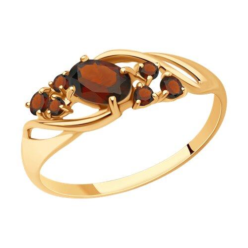 Кольцо из золота с гранатами (715180) - фото