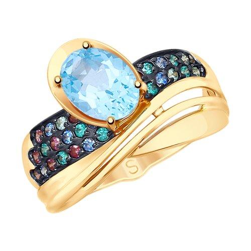 Кольцо из золота с миксом камней (715237) - фото