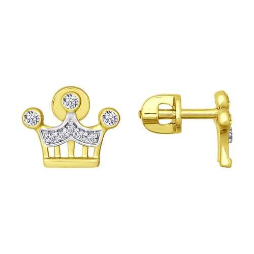 Серьги из желтого золота с фианитами (026661-2) - фото