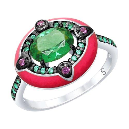 Кольцо из серебра с эмалью с зелёным ситаллом и зелеными и сиреневыми фианитами (92011701) - фото
