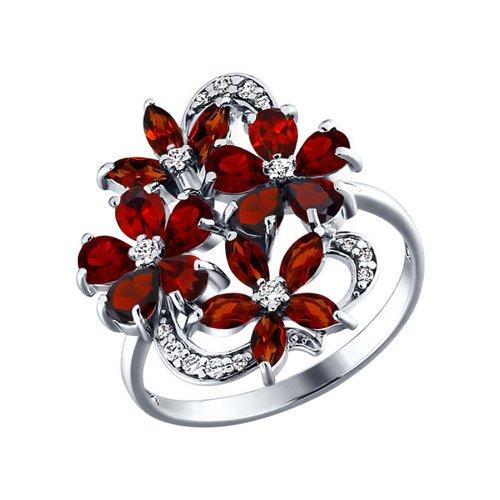 Серебряное кольцо с цветками SOKOLOV из гранатов золотое кольцо с двумя цветками sokolov