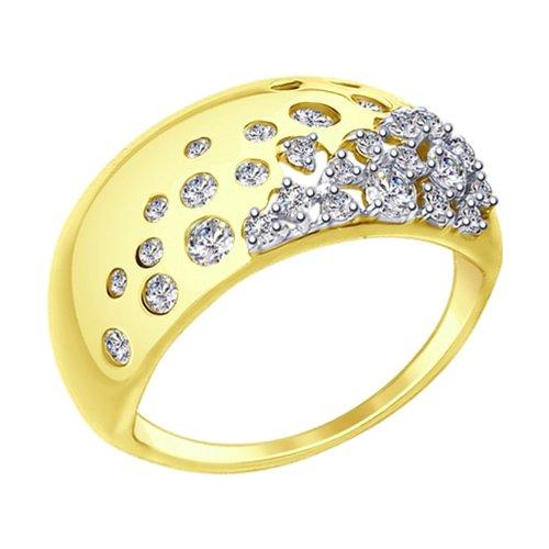 Кольцо из желтого золота с фианитами (017411-2) - фото